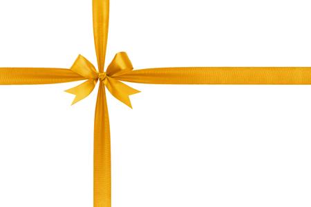 ゴールドの単純な結ばれたリボン弓コンポジション、白で隔離されます。 写真素材 - 22430296