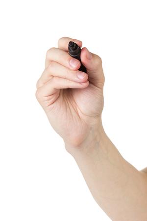 rotulador: hombre adulto la mano escribe algo con el marcador en cristal transparente, aislado en blanco