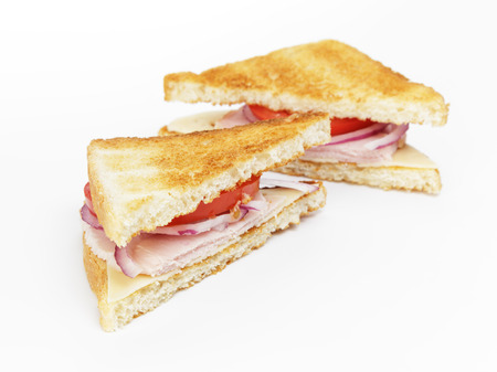 toasted sandwich: toasted sandwich for breakfast with ham, cheese and vegetables Stock Photo