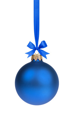 baubles: single simple blue christmas ball hanging on ribbon