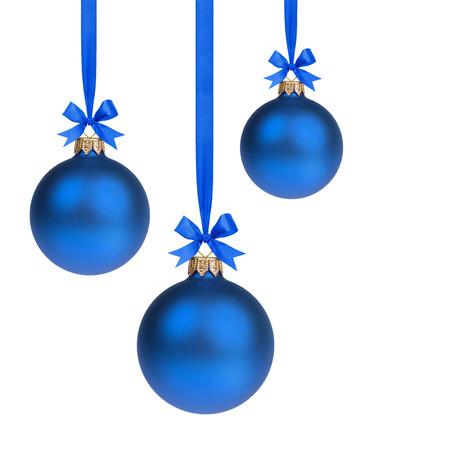 Komposition aus drei blauen Kugeln Weihnachten hängen Band Lizenzfreie Bilder