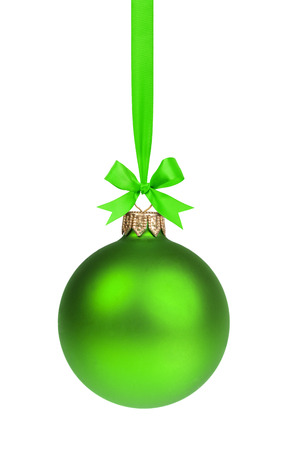 single simple green christmas ball hanging on ribbon
