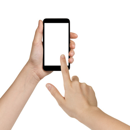 female teen hands using mobile phone with white screen, isolated photo