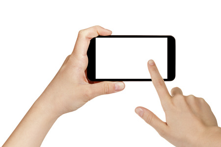 female teen hands using mobile phone with white screen, isolated Standard-Bild