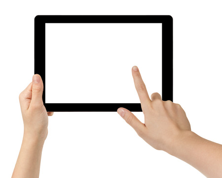 female teen hands using tablet pc with white screen, isolated photo
