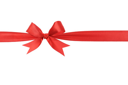 red bow: handmade red ribbon bow horizontal border, isolated