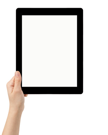 female teen hand using tablet pc with white screen, isolated photo