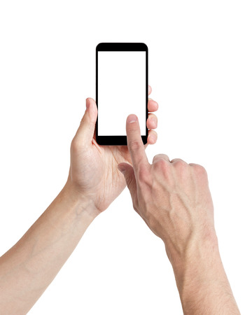 fingers: adult man hands using mobile phone with white screen, isolated Stock Photo