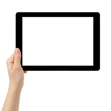 female teen hand using tablet pc with white screen, isolated