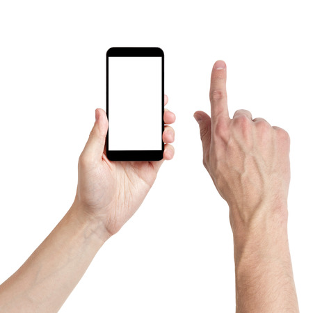 adult man hands using mobile phone with white screen, isolated Standard-Bild