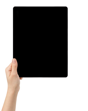 female teen hands holding tablet pc with black screen, isolated photo