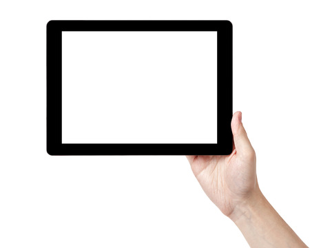 adult man hands holding tablet pc with white screen, isolated photo