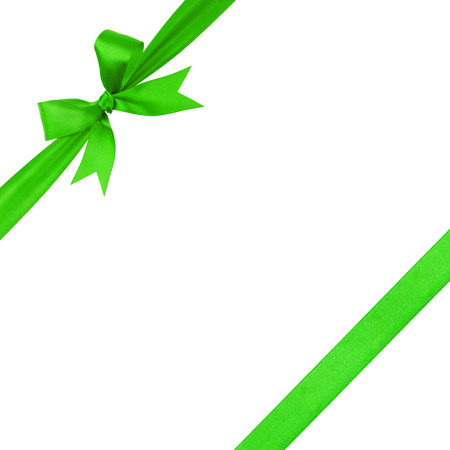green simple tied ribbon bow composition, isolated on white photo