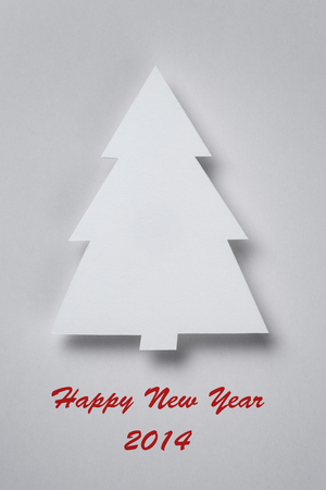 postcard with paper christmas tree, new year photo