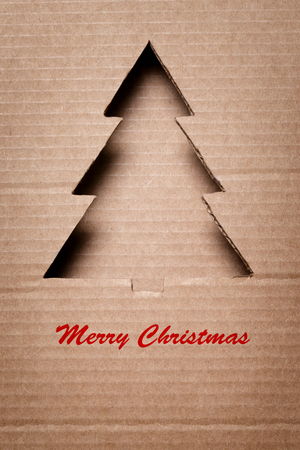 postcard with paper christmas tree, merry christmas theme photo