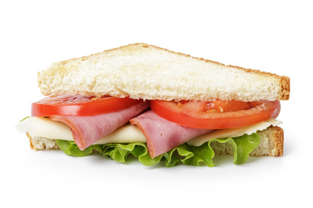 triangle sandwich with ham, cheese and vegetables, isolated photo