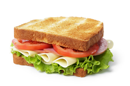 sandwich with ham, cheese and vegetables, isolated photo