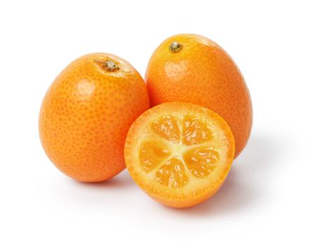 orange cut: ripe kumquat fruits, isolated on white background