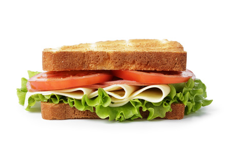 sandwich white background: sandwich with ham, cheese and vegetables, isolated