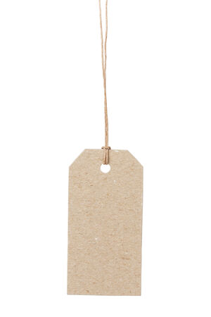 waxed: empty tag on waxed cord with space for writing something, isolated on white background