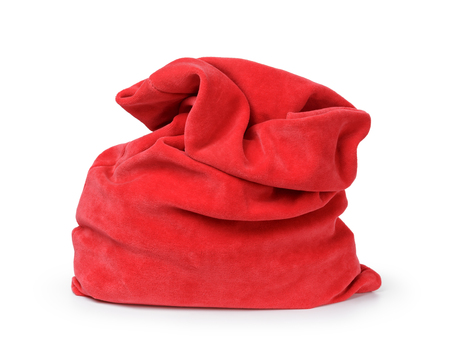 red santas bag from velvet fabric, isolated on white photo