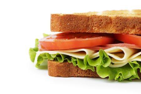 sandwich with ham, cheese and vegetables, close up photo