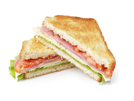 ham sandwich: toasted sandwich with ham, cheese and vegetables, isolated