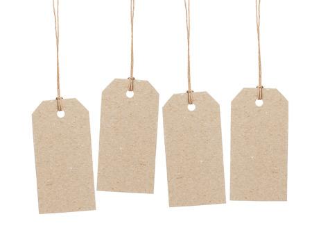 Satz von vier leeren Tag auf Wachsschnur mit Platz für etwas, isoliert Schrift auf weißem Hintergrund Lizenzfreie Bilder