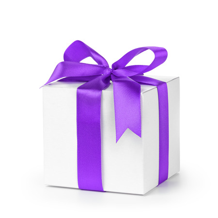 purple silk: paper gift box wrapped with purple ribbon, isolated on white