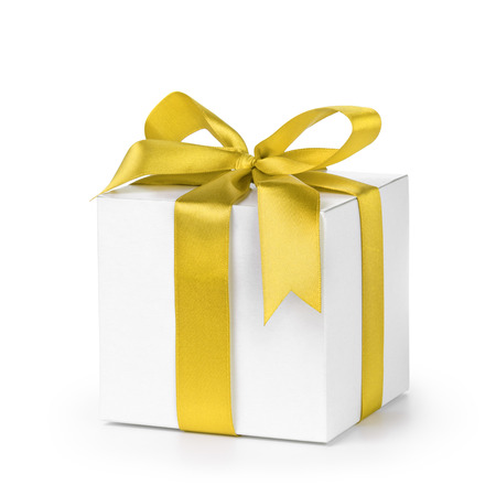 yellow ribbon: paper gift box wrapped with yellow ribbon, isolated on white Stock Photo