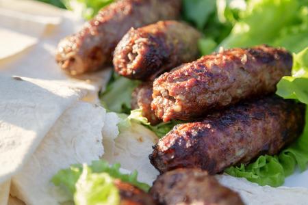kabab: shish kabab lamb meat on skewers, traditional receipt Stock Photo