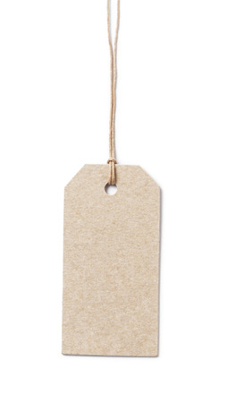 price tag on waxed cord from recycled paper, white background photo