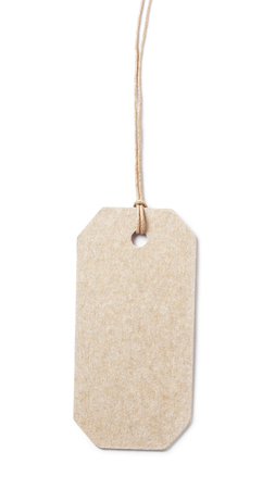 waxed: price tag on waxed cord from recycled paper, white background