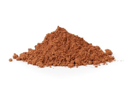 heap of fresh cacao powder, on white ckground photo