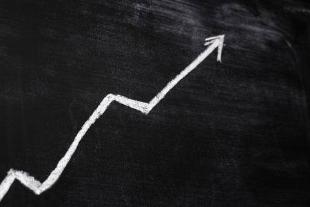 else: positive graph on blackboard, finance or something else