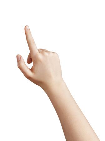 여성 십 대 손을 가리키거나 뭔가 화이트 절연을 클릭