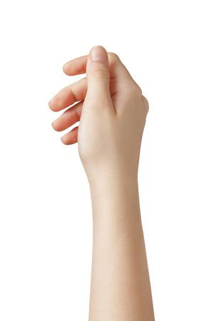Vrouwelijke tiener met de hand om iets van boven, geïsoleerde houden Stockfoto - 25649157