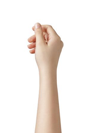 femelle main de l'adolescence de tenir quelque chose de plus haut, isolé