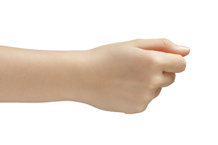 female teen hand to hold something side view, isolated