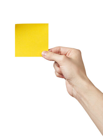 adult man hand holding sticky note, isolated on white photo