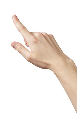 Hombre adulto mano clic o presionando algo, gesto táctil aislado Foto de archivo