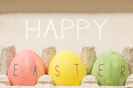 easter message: easter eggs inside container, rustic style