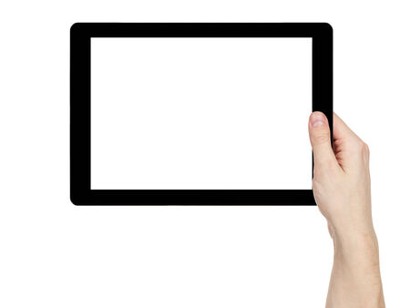 blank tablet: adult man hand holding generic tablet pc with white screen, isolated on white