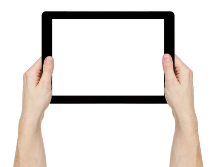 adult man hands holding generic tablet pc with white screen, isolated on white photo