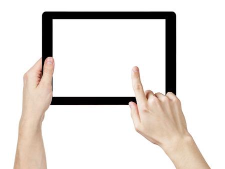 Erwachsener Mann Hände mit generischen Tablet-PC mit weißer Bildschirm, isoliert auf weiß