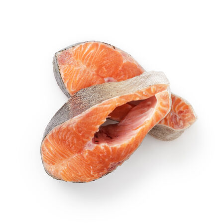 fresh raw trout steaks from above, isolated on white photo