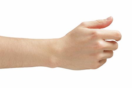 manos entrelazadas: dar o sostener algo así como la tarjeta de visita, aislado en blanco hombre adulto mano Foto de archivo