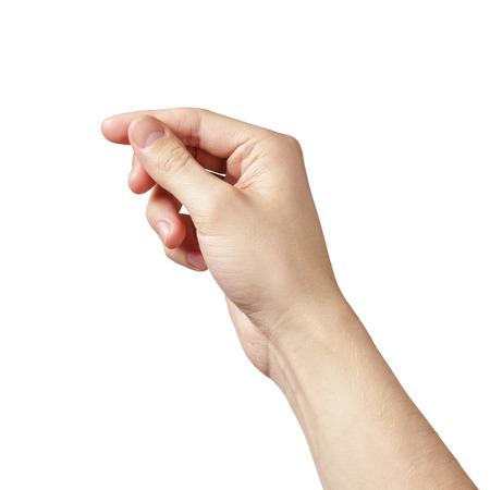 흰색에 고립 된 뭔가를 보유하는 성인 남자 손