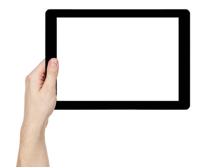 adult man hand holding generic tablet pc with white screen, isolated on white photo
