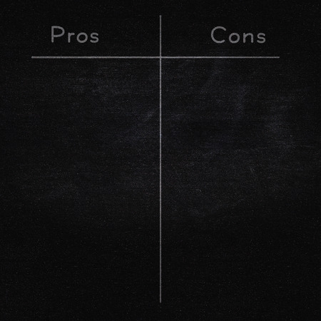 cons: pros and cons on blackboard, empty list Stock Photo
